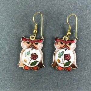 Vintage Cloisonné owl earrings